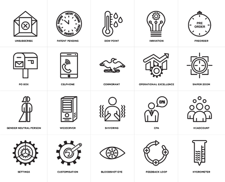 Set Of 20 simple editable icons such as hygrometer, sniper zoom, preorder, innvation, settings, patent pending, cpa, po box, web UI icon pack, pixel perfect