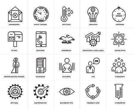Set van 20 eenvoudige bewerkbare pictogrammen zoals hygrometer, sniper zoom, preorder, innvation, instellingen, patent aangevraagd, cpa, po box, web UI icon pack, pixel perfect