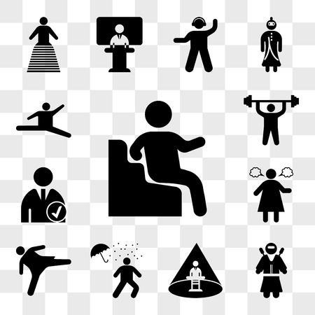 Set Of 13 transparent icons such as Sitting Down, Ninja warrior, Abducted Man, Man under rain loosing umbrella, Girl kicking, Angry woman, Checked Profile, web ui editable icon pack, transparency set