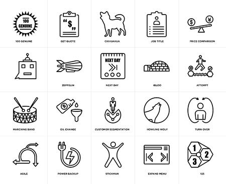 Set van 20 eenvoudige bewerkbare pictogrammen zoals 123, poging, prijsvergelijking, functietitel, behendig, offerte opvragen, huilende wolf`` web UI icon pack, pixel perfect Vector Illustratie