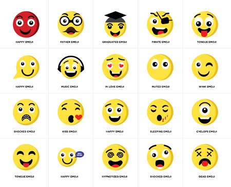 Set Of 20 simple editable icons such as Dead emoji, Wink Tongue Pirate Father Sleeping Happy web UI icon pack, pixel perfect