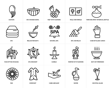 Set Of 20 simple editable icons such as Spa wooden bowl, water, Perfume spray spherical bottle, Overcoat, fan, Bath of immersion, Relaxation bath, web UI icon pack, pixel perfect