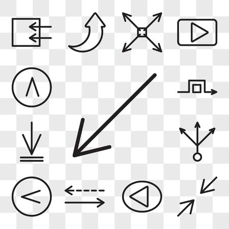 Ensemble de 13 icônes modifiables transparentes telles que la flèche diagonale, réduire, droite, flèches horizontales, multiplier à gauche, téléchargement, rond-point, pack d'icônes de l'interface utilisateur Web, jeu de transparence Banque d'images - 106756230