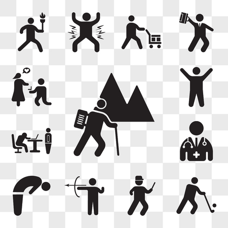 Set Of 13 transparent icons such as Backpacker Hiking, Golfer, Running cop, Archery skill, Backbend, Doctor, Boss catching a worker sleeping, Arms up, web ui editable icon pack, transparency set Illustration