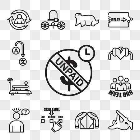 Set Of 13 transparent editable icons such as unpaid, sloth, gears mesh, skill level, misunderstanding, our team, telegraph, defibrillator, change language, web ui icon pack, transparency set