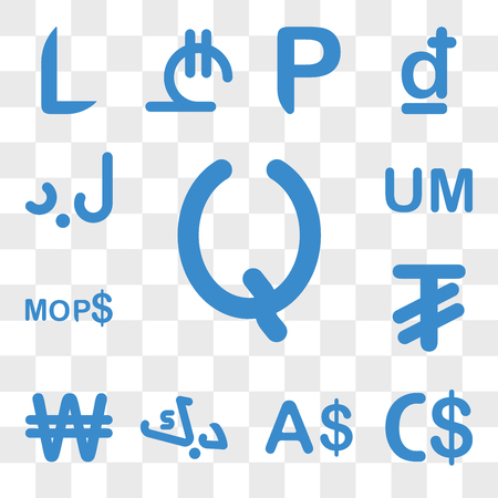 Set Of 13 transparent icons such as Guatemala currency, Nicaragua Currency Kuwait North Korea Mongolia web ui editable icon pack, transparency