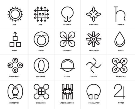 Satz von 20 Symbolen wie Jupiter, Koagulation, Lebensherausforderungen, Exzellenz, Demokratie, Uranus, Geschicklichkeit, Erde, Engagement, Stier, Lethargie, bearbeitbares Symbol für die Web-Benutzeroberfläche, Pixel perfekt Vektorgrafik