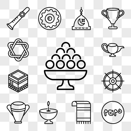 Set Of 13 transparent editable icons such as Laddu, Muhammad Word, Tallit, Religion, Manna Jar, Dharma, Kaaba Mecca, Genie Lamp, Star of David, web ui icon pack, transparency set Illustration
