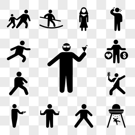 Set Of 13 transparent icons such as Man with glasses and cocktail in a party, Abduction, Stretching Pose, Person hunger, Russian Roulette, Sport torch runner, web ui editable icon pack, transparency Çizim