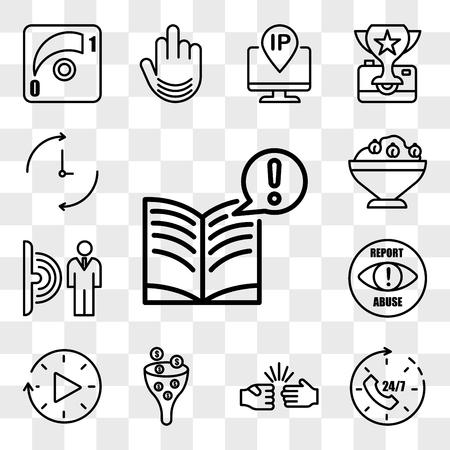 Zestaw 13 przezroczystych ikon, takich jak ciekawe fakty, 24x7, nożyczki do papieru skalnego, lej sprzedaży, przestoje, zgłaszanie nadużyć, czujnik ruchu, hummus, edytowalny pakiet ikon interfejsu internetowego, zestaw przezroczystości Ilustracje wektorowe