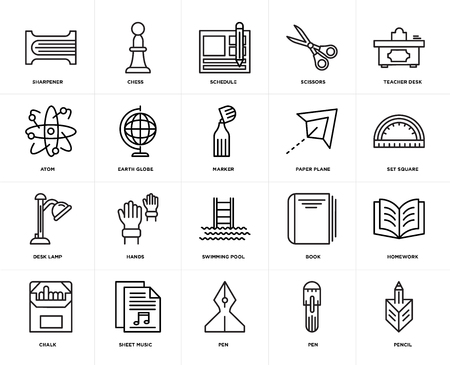 Set Of 20 icons such as Pencil, Pen, Sheet music, Chalk, Teacher desk, Paper plane, Swimming pool, Desk lamp, Earth globe, Schedule, web UI editable icon pack, pixel perfect
