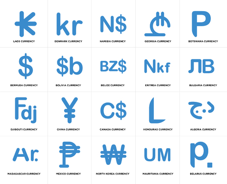 Set Of 20 simple editable icons such as Bulgaria currency, North Korea Mexico Bermuda Belize web UI icon pack, pixel perfect
