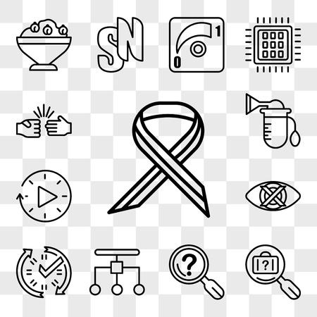 Set di 13 icone trasparenti come sclerosi multipla, oggetti smarriti, dichiarazione di problemi, ristrutturazione, dati in tempo reale, discreti, tempi di inattività, pompa, pacchetto di icone modificabili dall'interfaccia utente web, set di trasparenza Vettoriali