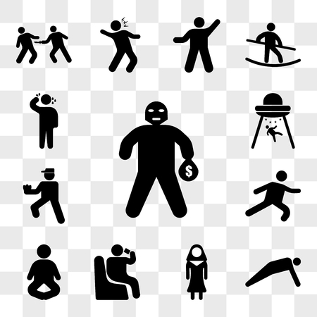 Set Of 13 transparent icons such as Masked Criminal Heist, Man doing push ups, Nun, Person sitting and drinking, Meditation Pose, Long Jump, Pitcher, web ui editable icon pack, transparency set