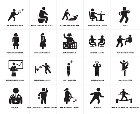 Set Of 20 simple editable icons such as Man sitting on the Toilet, Runner, Thief, Fat With Pizza and Telephone, Doctor, Ballerina pose, Pregnant woman, web UI icon pack, pixel perfect