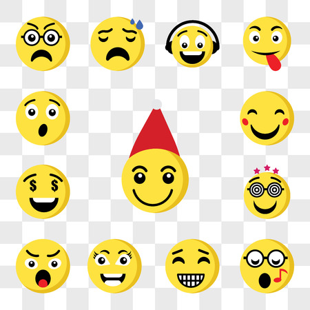 Set Of 13 transparent icons such as Santa claus emoji, Nerd Happy Smart Angry Greed web ui editable icon pack, transparency set Vektorové ilustrace