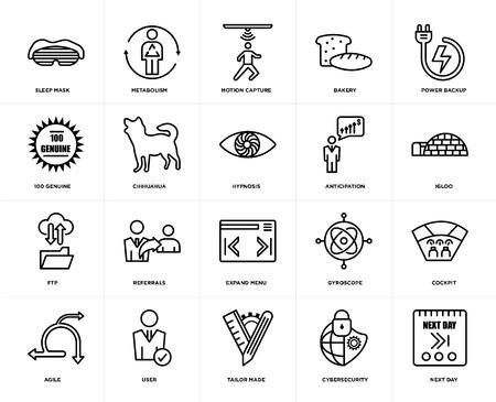 Set von 20 einfach editierbaren Symbolen wie nächster Tag, Iglu, Power-Backup, Bäckerei, Agil, Stoffwechsel, Gyroskop, 100 echte, Web-UI-Icon-Pack, Pixel Perfect