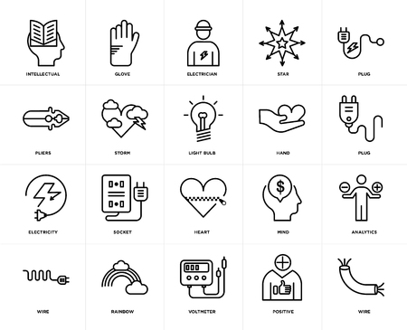 Set Of 20 icons such as Wire, Positive, Voltmeter, Rainbow, Plug, Hand, Heart, Electricity, Storm, Electrician, web UI editable icon pack, pixel perfect