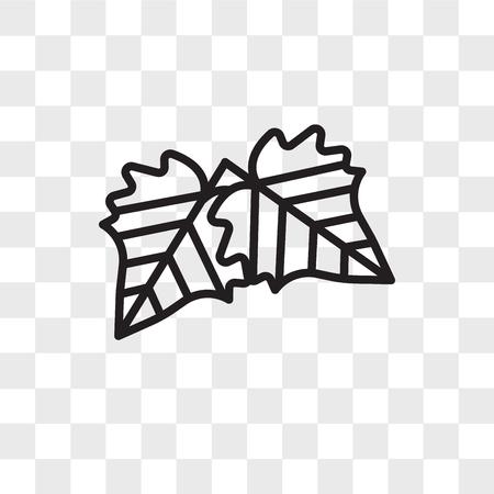 Icono de vector de hoja de espino aislado sobre fondo transparente, concepto de logo de hoja de espino