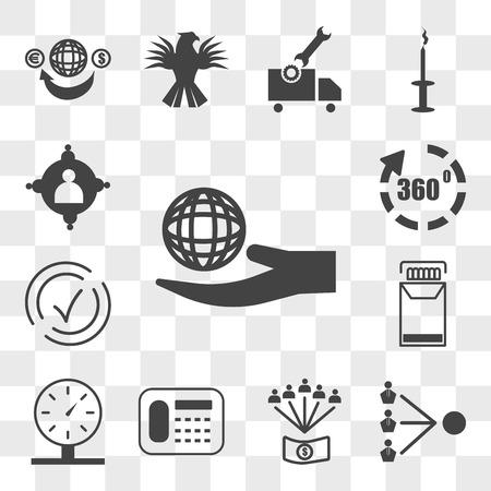Conjunto de 13 iconos transparentes como responsabilidad social corporativa, terceros, beneficios para empleados, teléfono fijo, parquímetro, paquete de cigarrillos, compatible, conjunto de transparencia de iconos editables de interfaz de usuario web