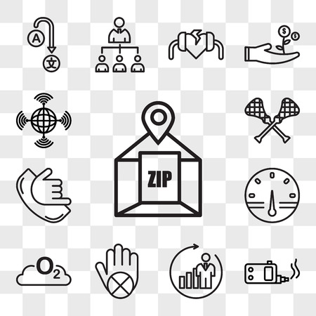 Set Of 13 transparent editable icons such as zip code, ecig, b2c, do not touch, o2, smart meter, call me, lacrosse, wan, web ui icon pack, transparency set Illustration