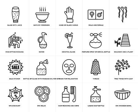 Set von 20 einfachen bearbeitbaren Symbolen wie Bad des Eintauchens, Flüssigseifenflasche, Spa entspannen, Rabatt, Baumzweige mit Blatt, Wasser, Web-UI-Symbolpaket, Pixel perfekt
