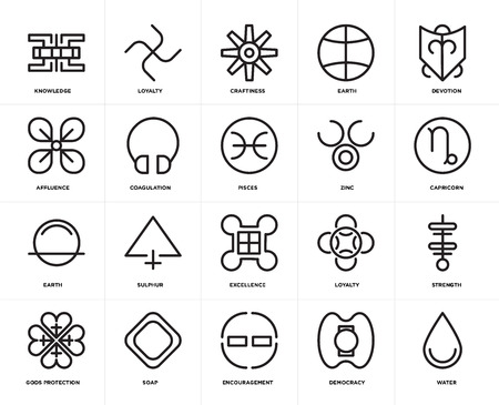 Set Of 20 icons such as Water, Democracy, Encouragement, Soap, Gods protection, Devotion, Zinc, Excellence, Earth, Coagulation, Craftiness, web UI editable icon pack, pixel perfect Illustration