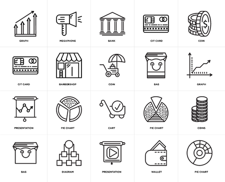 Set Of 20 icons such as Pie chart, Wallet, Presentation, Diagram, Bag, Coin, Cart, Barbershop, Bank, web UI editable icon pack, pixel perfect