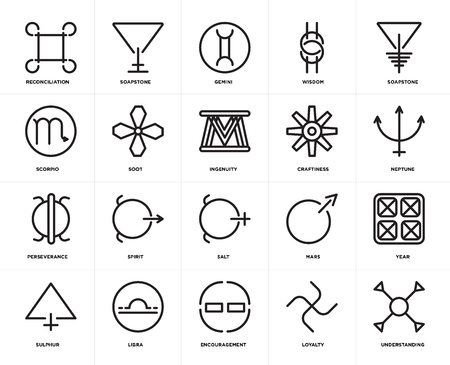 Set Of 20 icons such as Understanding, Loyalty, Encouragement, Libra, Sulphur, Soapstone, Craftiness, Salt, Perseverance, Soot, Gemini, web UI editable icon pack, pixel perfect