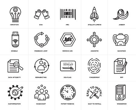 Set Of 20 simple editable icons such as webserver, Backpack, jabber, stellar lumens, customisation, dua, fingerprint, dongle, web UI icon pack, pixel perfect 일러스트
