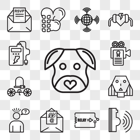 Set Of 13 transparent icons such as minimalist dog, voice command, relay, snail mail, misunderstanding, female robot, bike lock, screenplay, web ui editable icon pack, transparency set Illustration