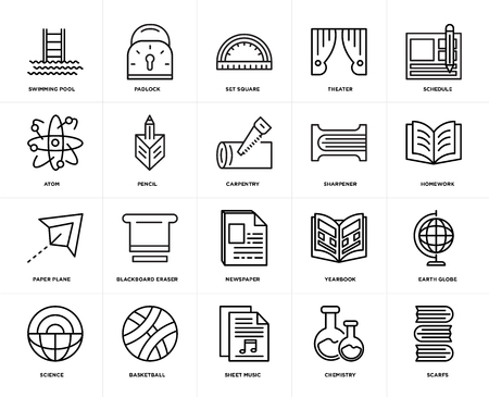 Set Of 20 icons such as Scarfs, Chemistry, Sheet music, Basketball, Science, Schedule, Sharpener, Newspaper, Paper plane, Pencil, square, web UI editable icon pack, pixel perfect Illustration