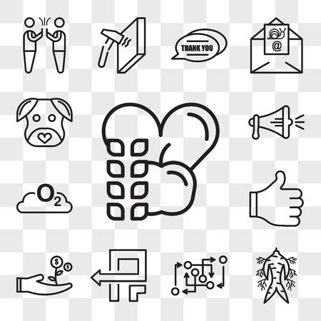 Set Of 13 transparent editable icons such as nutritionist, ginseng, methodology, pivot, cost effective, thumbs up, o2, spread the word, minimalist dog, web ui icon pack, transparency set