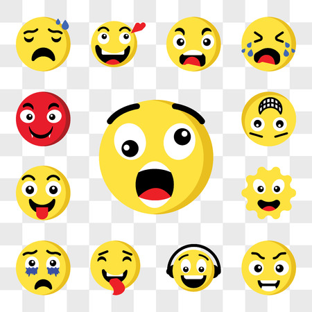 Set Of 13 transparent icons such as Shocked emoji, Smart Music Tongue Crying Sun Happy web ui editable icon pack, transparency set