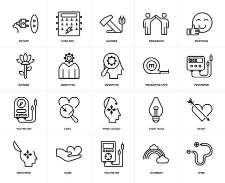 Conjunto de 20 iconos como alambre, arco iris, voltímetro, mano, mente abierta, emociones, cinta métrica, mente cerrada, cognitiva, martillo, paquete de iconos editables de la interfaz de usuario web, píxel perfecto