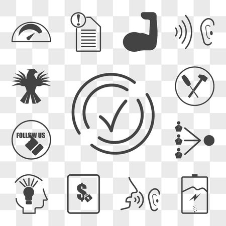 Set Of 13 transparent editable icons such as compliant, empower, whisper, fixed price, capability, third party, follow us, troubleshoot, griffin, web ui icon pack, transparency set Ilustracja