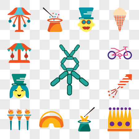Set Of 13 transparent editable icons such as Balloon modelling, Crown, Magician, Eye mask, Flambeaux, Fireworks, Assistant, Bicycle, Carousel, web ui icon pack, transparency set