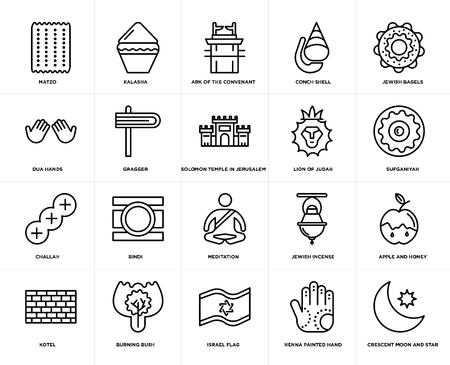 Set van 20 eenvoudige bewerkbare pictogrammen zoals Crescent Moon and Star, Sufganiyah, Jewish Bagels, Conch shell, Kotel, Kalasha, Incense, Dua Hands, web UI icon pack, pixel perfect Vector Illustratie