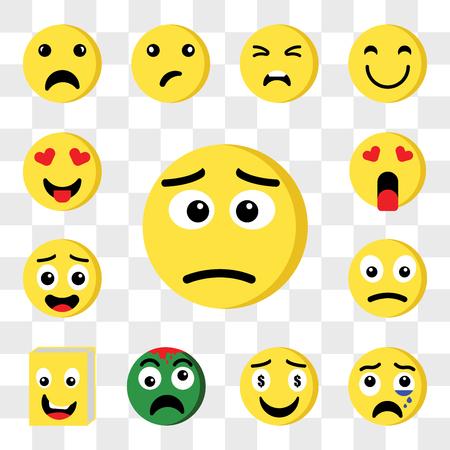 Satz von 13 transparenten bearbeitbaren Symbolen wie Ti, Weinen, Gier, Zombie, Buch, Traurig, Verliebt, Web-UI-Icon-Pack, Transparenz-Set