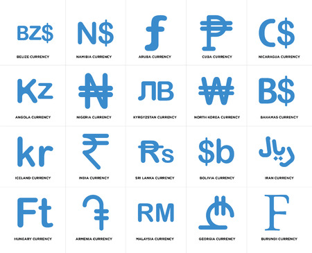 Set Of 20 simple editable icons such as Bahamas currency, Malaysia Armenia Angola Kyrgyzstan web UI icon pack, pixel perfect