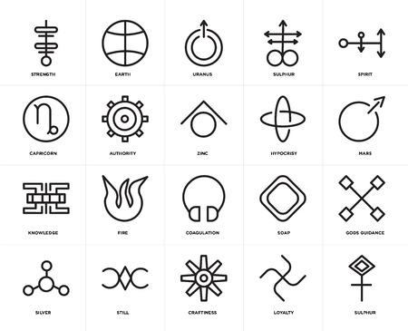 Set Of 20 icons such as Sulphur, Loyalty, Craftiness, Still, Silver, Spirit, Hypocrisy, Coagulation, Knowledge, Authority, Uranus, web UI editable icon pack, pixel perfect