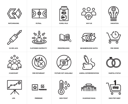 Set Of 20 simple editable icons such as one stop shop, pre order, innvation, why us, lms, futsal, animal experimentation, 3.5 mm jack, web UI icon pack, pixel perfect