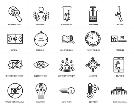 Set Of 20 simple editable icons such as shaniwar wada, prerende, ortho, aeropress, picture not available, shivering, agnostic, futsal, web UI icon pack, pixel perfect