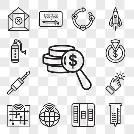 Set Of 13 transparent editable icons such as net worth, hygrometer, kanban, telemetry, digitalisation, touchpoint, 3.5 mm jack, capex, gaz, web ui icon pack, transparency set Illustration
