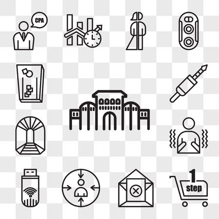 Set Of 13 transparent editable icons such as shaniwar wada, one stop shop, unsubscribe, retargeting, dongle, shivering, can you mine, 3.5 mm jack, cornhole, web ui icon pack, transparency set