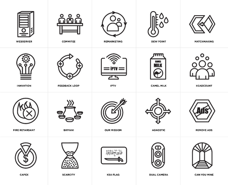 Set Of 20 simple editable icons such as can you mine, headcount, matchmaking, dew point, capex, commitee, agnostic, innvation, web UI icon pack, pixel perfect Illustration