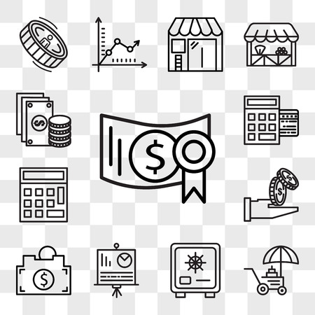 Set Of 13 transparent editable icons such as Investment, Coin, Cit card, Presentation, Piggy bank, Get money, Calculator, Point of service, Change, web ui icon pack, transparency set Banque d'images - 111890635
