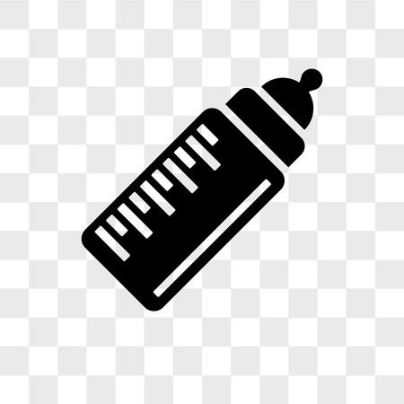 Icône de vecteur de bouteille de lait bébé isolé sur fond transparent, concept de logo de bouteille de lait bébé Logo