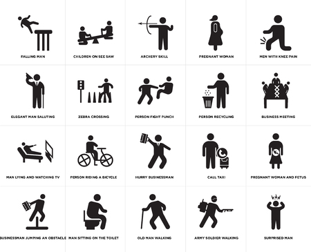 Set Of 20 simple editable icons such as Person fight punch, Army soldier walking, Old man Man sitting on the Toilet, recycling, web UI icon pack, pixel perfect