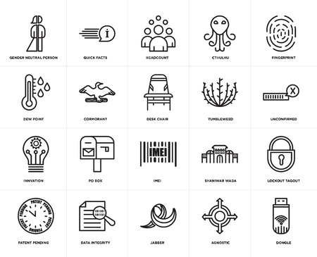 Set Of 20 icons such as dongle, agnostic, jabber, data integrity, patent pending, fingerprint, tumbleweed, imei, innvation, cormorant, headcount, web UI editable icon pack, pixel perfect 向量圖像